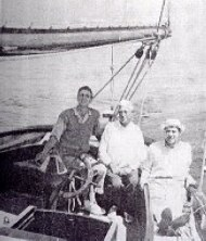John Alden (center) aboard his own 390,